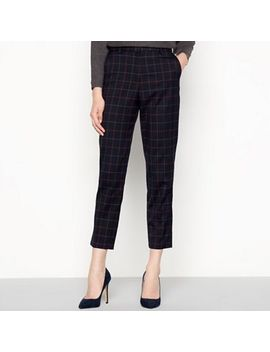 Principles   Navy 'cognac' Check Print Trousers by Principles