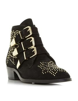 Dune   Black Suede 'padilla' Block Heel Ankle Boots by Dune
