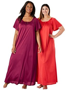 Only Necessities Women's Plus Size 2 Pack Long Nightgown Set by Only Necessities