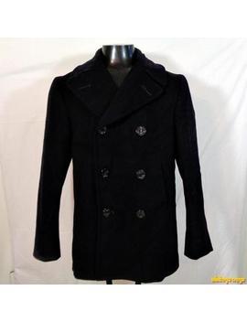 1970 Vtg Vietnam Era Us Navy Kersey Wool Pea Jacket Coat Peacoat Mens Xs 36 Blue by Bonham Manufacturing Co., Inc.
