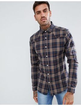Asos Design Stretch Slim Check Western Shirt In Brown by Asos Design