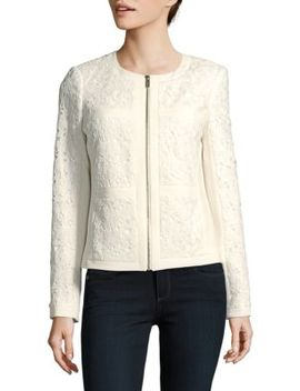 Lace Zip Front Jacket by Karl Lagerfeld Paris