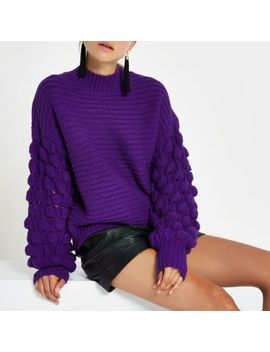 Purple Knit Bobble Sleeve Sweater by River Island