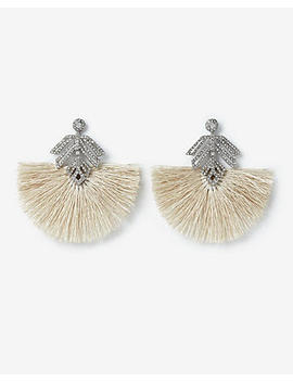 Mini Tassel Stone Leaf Drop Earrings by Express