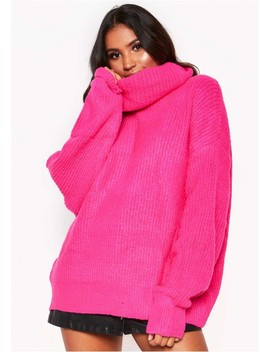 Neon Pink Roll Neck Oversized Knit Jumper by Missy Empire