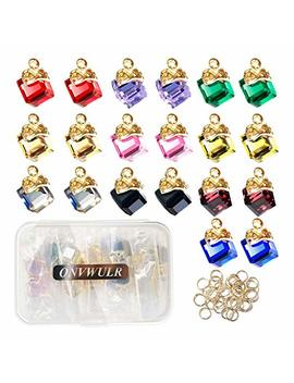 Onvwulr 20 Pcs 1 Box Cubic Crystal Charms 10 Colors Pendants For Jewelry Making Necklace Earring Accessory by Onvwulr