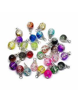 Beading Station 30 Piece Handcrafted Crackle Glass Beads Drops With Silver Wire And Bead Cap For Jewelry Making by Beading Station