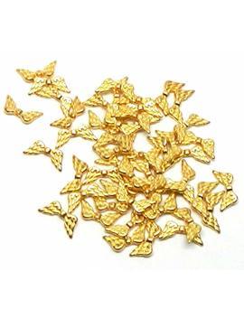 Rockin Beads Brand, 48 Angel Wings Gold Plated Beads Cast Zinc Metal Beads 20x9mm by Rockin Beads (Tm)