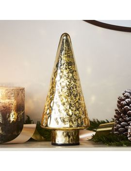 "Antique Glass Gold Lit 12"" Tree by Crate&Barrel"