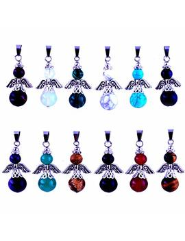 Angles Healing Pointed Chakra Rock Beads Pendants 12pcs Gems Round Ball Handmade Quartz Crystal Stone Gemstone For Necklace Jewelry Making by Cmidy
