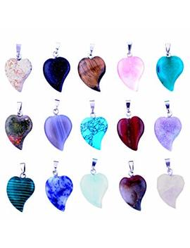 Heart Stone Pendants 20pcs Small Healing Rock Chakra Diy Crystal Charms Love Heart For Necklace Earring Jewelry Making (20 Colors) by Cmidy