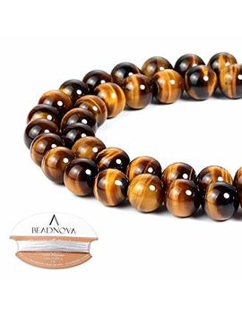 Beadnova 8mm Yellow Tiger Eye Gemstone Round Loose Beads For Jewelry Making (45 48pcs) by Beadnova
