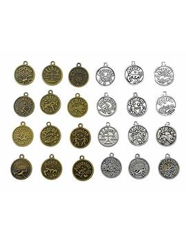 Kinteshun Alloy 12 Zodiac Signs Twelve Constellation Symbol Double Sided Lucky Charm Pendant For Diy Necklace Bracelet Jewelry Making Accessaries(2 Sets,24pcs,Antique Silver&Bronze) by Kinteshun