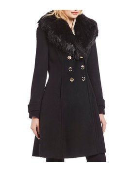 Faux Fur Shawl Collar Double Breasted Coat by Ivanka Trump
