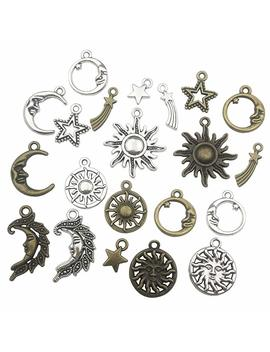 100g (About 80pcs) Craft Supplies Celestial Collection Charms Pendants For Crafting, Jewelry Findings Making Accessory For Diy Necklace Bracelet (Sun Moon Star Charms) by Ilove Di Ybeads