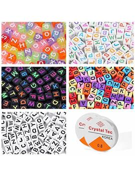 Letter Beads For Jewelry Making Alphabet Beads For Kids Kandi Beads 750 Pieces 5 Colors Bead Accessories For Jewelry Making With 2 Beading Cords by Kingyao