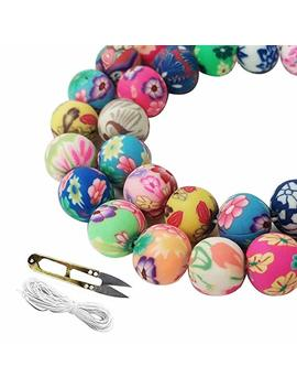 Wxboom 100pcs Assorted Handmade Colorful Pattern Beads Fimo Polymer Clay Round Spacer Bulk Beads With 1 Pair Of Scissors And 1 White Cord (10mm) For Jewelry Making by Wxboom