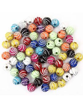 Bingcute 300 Pcs 8mm Screw Shiny Acrylic Round Ball Spacer Loose Beads For Jewelry Making by Bingcute