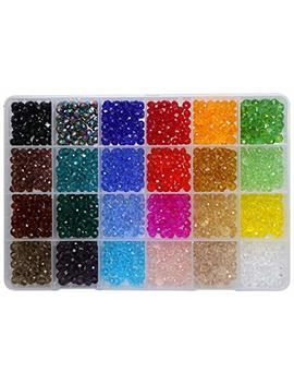 Shapenty 24 Colors 6mm Decorative Hand Briolette Faceted Rondelle Crystal Glass Beads With Hole For Diy Craft Bracelet Necklace Jewelry Making, 1200 Pieces/Box by Shapenty