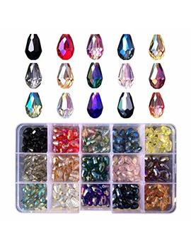 Chengmu 8x12mm Teardrop Glass Beads For Jewelry Making Faceted Straight Hole Shape 225pcs Multicolor Ab Colour Crystal Spacer Beads For Bracelets Necklaces With Elastic Cord Storage Box by Chengmu