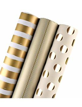 La Ribbons Gift Wrapping Paper Roll   Gold Print For Birthday, Holiday, Wedding, Baby Shower Gift Wrap   3 Rolls   30 Inch X 120 Inch Per Roll by La Ribbons