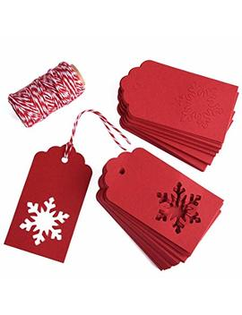 Gift Tags, Zealor 100 Pieces Red Kraft Paper Gift Tags Snowflake Shape With String For Christmas Wedding Favor by Zealor