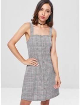 Button Up Plaid Mini Dress   Multi M by Zaful