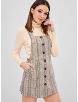 Zaful Button Up Plaid Pinafore Dress   Multi S by Zaful