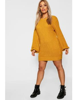 Plus Rib Detail Blouson Sleeve Jumper Dress by Boohoo