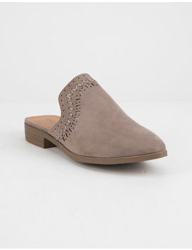 Qupid Perforated Taupe Womens Mules by Qupid
