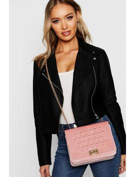 Velvet Quilt & Stud Cross Body by Boohoo