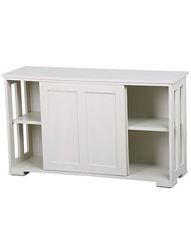 Yaheetech Antique White Buffet Cabinet Kitchen Table With Sliding Door Stackable Sideboard Storage Cabinet by Yaheetech