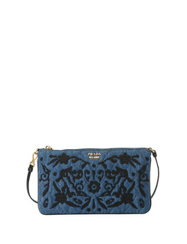 Denim Small Pouch Clutch Bag by Prada