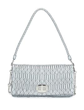 Metallic Matelasse Leather Medium Shoulder Bag W/ Crystal Lock by Miu Miu