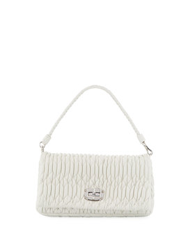 Matelasse Leather Shoulder Bag W/ Crystal Lock by Miu Miu