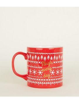 Red Sleigh Every Day Fairisle Print Mug by New Look