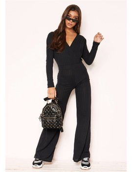Melony Black Wrap Wide Leg Jumpsuit by Missy Empire