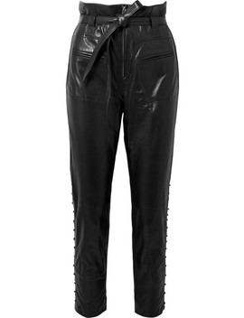 Instinct Belted Leather Tapered Pants by Iro