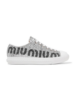 Logo Print Glittered Leather Sneakers by Miu Miu