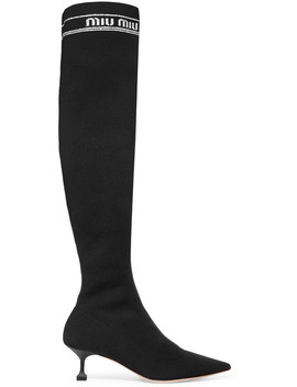 Ribbed Knit Over The Knee Sock Boots by Miu Miu