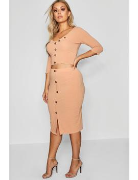 Plus Ribbed Button Co Ord Set by Boohoo