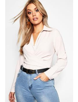 Plus Tie Front Shirt by Boohoo