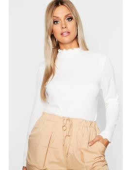 Plus Rib High Neck Lettuce Hem Top by Boohoo