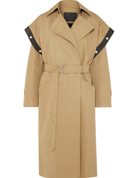 Belted Leather Trimmed Cotton And Linen Blend Trench Coat by Givenchy