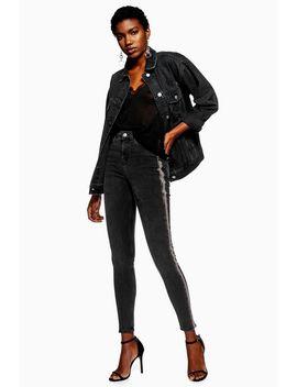 Washed Black Side Stripe Jamie Jeans by Topshop