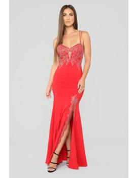 Issa Celebration Embroidered Gown   Red by Fashion Nova