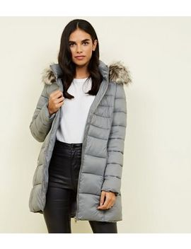Grey Removable Hood Belted Longline Puffer Coat by New Look