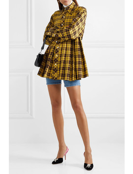 Oversized Pleated Checked Cotton Shirt by Matthew Adams Dolan