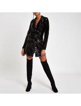 Black Velvet Sequin Tux Dress by River Island