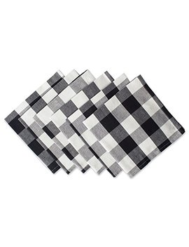 "Dii Cotton Buffalo Check Oversized Basic Cloth Napkin For Everyday Place Settings, Farmhouse Décor, Family Dinners, Bbq's, And Holidays (20x20"", Set Of 6) Black & White by Dii"